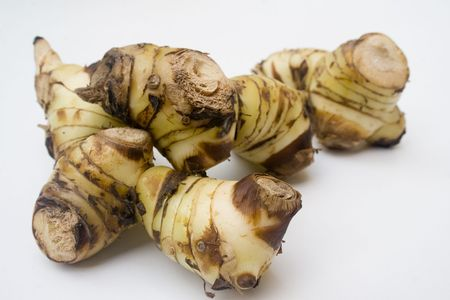 alpinia: A stack of galangal root isolated against a white background
