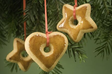 Gingerbread ornaments hanging on fir branch and isolated against green paper