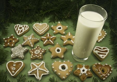 A variety of decorated Christmas cookies with a glass of milk surrounded by fir branches Stock Photo - 3667326