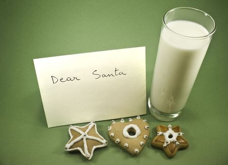 Three cookies with milk and letter to Santa Stock Photo - 3678271