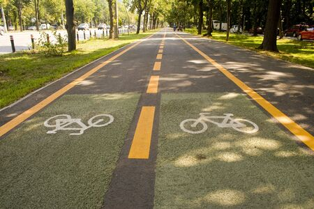City bike lane along shady wooden street Stock Photo