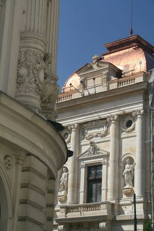 Architectural detail of two classic buildings 스톡 콘텐츠