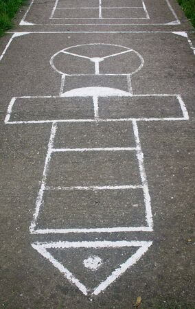 Detail of painted hopscotch game photo