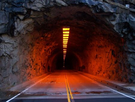 Closeup of an illuminated tunnel at entrance of Yosemite National Park