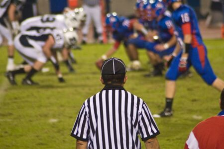 Football official watching game