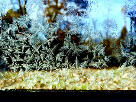 frosted window: Frosted window pane, on a early fall morning in South west Missouri Stock Photo
