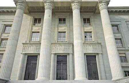 tribunal: Federal Tribunal building in Lausanne showing symmetric 3 doors and 2 columns
