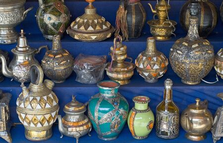 stand teapot: Moroccan Vases and Pots from the souks (market place). Intricate detail and fine craftsmanship Stock Photo