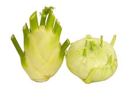 Fennel and kohlrabi vegetables isolated on white background