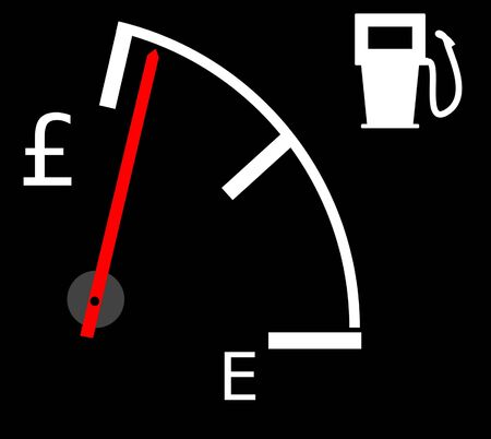 Illustration showing the current rising fuel prices in pounds sterling