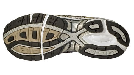 The sole and tread of a running shoe, trainer