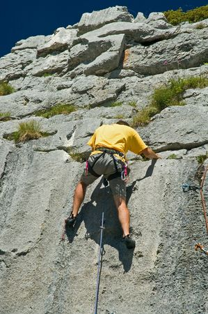 repel: Rock climber climbing limestone, Switerland