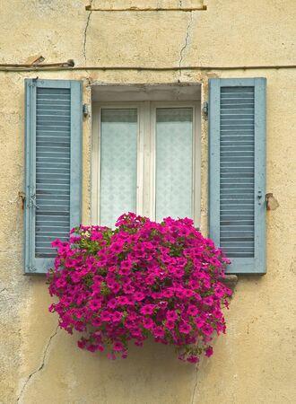 serrande: Vecchia finestra con persiane e Window box con fiori