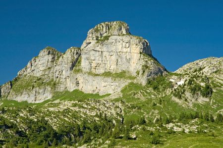 Limestone tower mountain in Switzerland Stock Photo