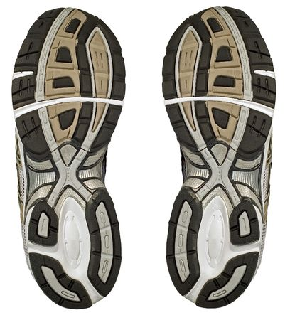 The sole and tread of a pair of running shoes, trainer Stock Photo