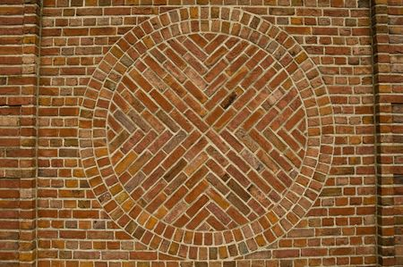 Red Brick Wall with circle Pattern