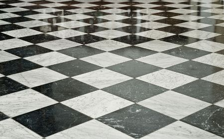 mosaic floor: Black and White Marble Floor Stock Photo