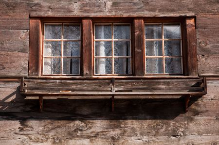 Old wooden windows from a Swiss Chalet photo