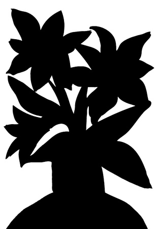 macro leaf: Black and White Silhouette of spring flowers