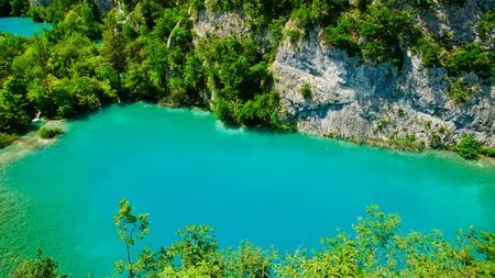 Turquoise lake at Plitvice, Croatia