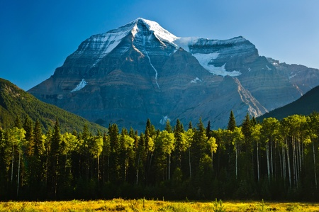 Early morning view of Mount Robson, British Columbia, Canada without clouds  Stock Photo