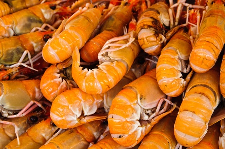 Fresh large Prawn / shrimp in a market stand Stock Photo