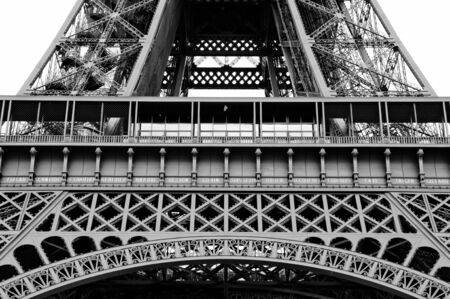 Close up of the Lower part of the eiffel tower arch Stock Photo