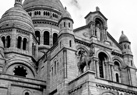 Black and white image of the Sacre Coeur Cathedral in central Paris