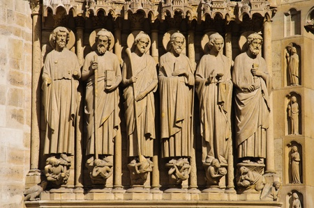 Religious Statues outside the Notre Dame Cathederal, Paris