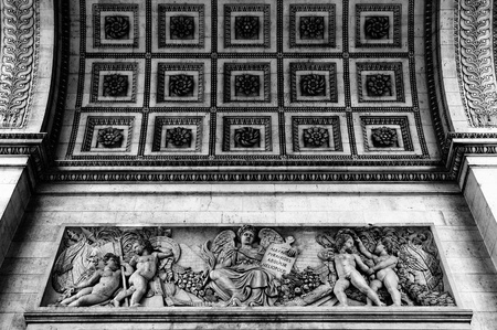 Close up details of the base of the Arc de Triomphe in Paris Stock Photo