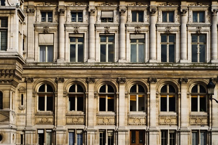 Front of an old Paris building with many windows Stock Photo