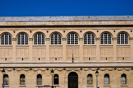 Front of the Bibliotheque Saint Genevieve in Paris showing many windows