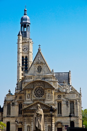 Eglise Saint Etienne du Mont Church in Paris with sculpture in the foreground Stock Photo