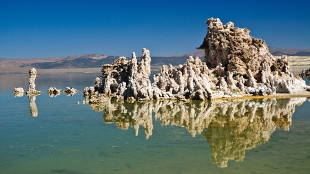 Reflection on the limtsone formations in Mono Lake, California