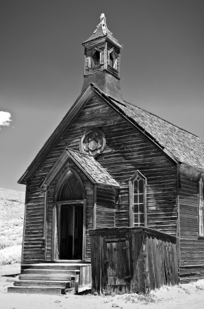 Old wooden church, abandoned Gold Mine, Bodie California Stock Photo