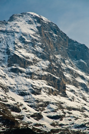 Dramatic and Famous Eiger North Face, Swiss Alps showing summit Stock Photo