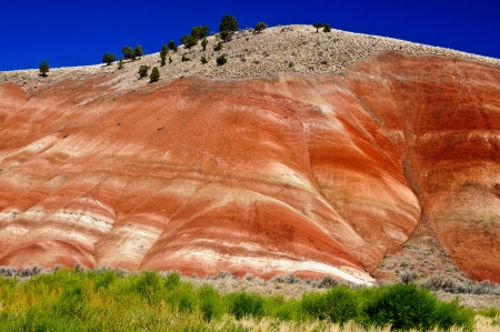 Coloful clay and rock layers, John Day Fossil park, Oregon photo