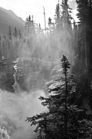 np: Misty Waterfall photographed at Jasper NP
