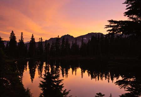 Beautiful magenta Sunset and lake, vancouiver island Stock Photo - 18139092