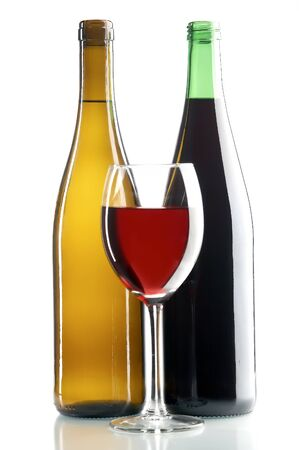 still life with red and white wines on the white background