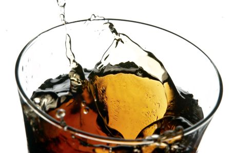 cola in glass on the white background