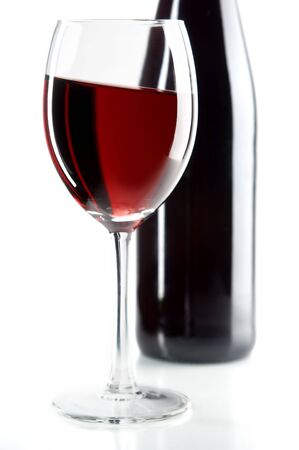 still life with red wines on the white background