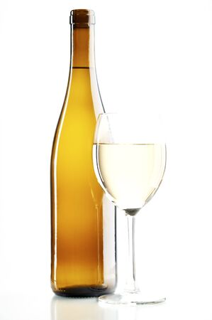 still life with white wine on the white background