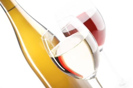 still life with red and white wines on the white background Stock Photo - 1743915