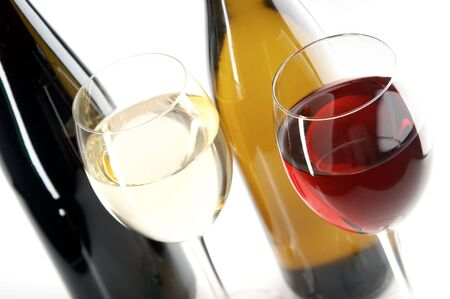 wines: still life with red and white wines on the white background