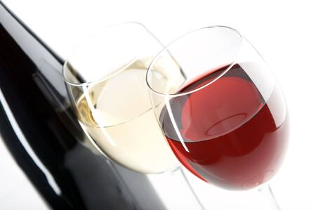 still life with red and white wine on the white background