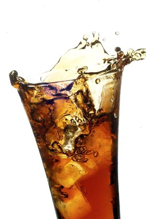 glass with cola on the white background Stock Photo - 1747904