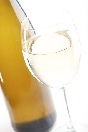 white wine on the white background