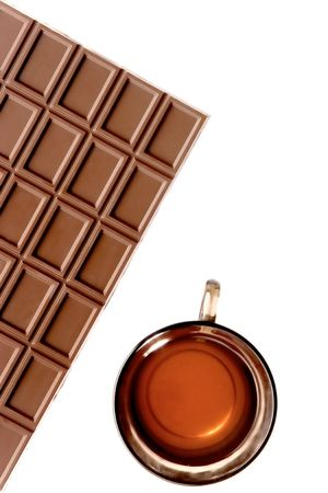 debility: five oclock tea with chocolate on the white background