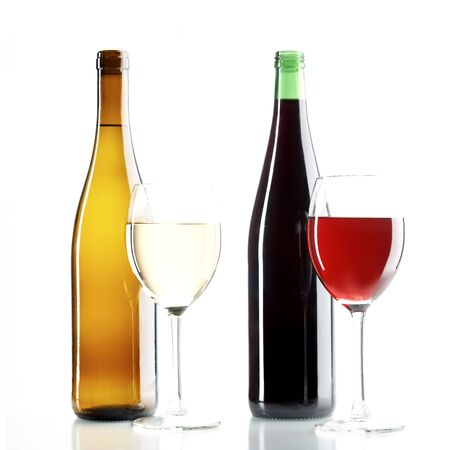 pervaded: still life with red and white wine on the white background
